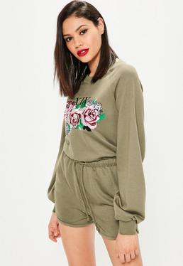 Khaki Rose Embroidered Loopback Playsuit