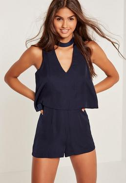 Navy Silky Double Layer Choker Romper
