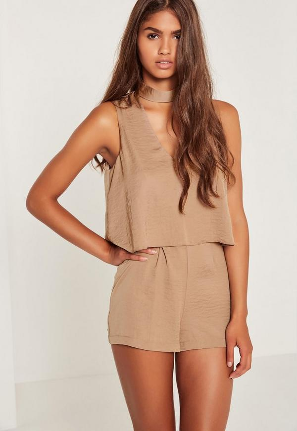 Nude Silky Double Layer Choker Playsuit