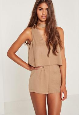 Nude Silky Double Layer Choker Romper