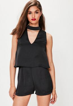 Black Silky Double Layer Choker Romper