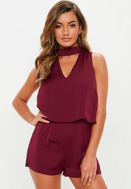 Burgundy Silky Double Layer Choker Playsuit