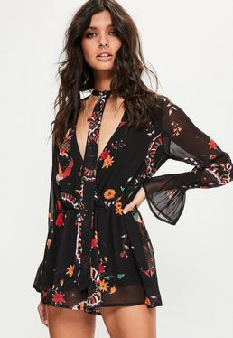 Black Snake Print Gathered Sleeve Playsuit