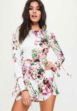 White Floral Print Open Frill Back Playsuit