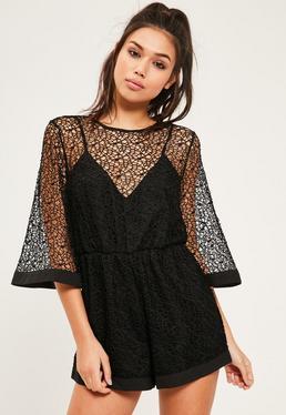 Black Kimono Sleeve Lace Playsuit