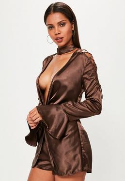 Brown 2 Piece Choker Lace Up Sleeve Satin Romper