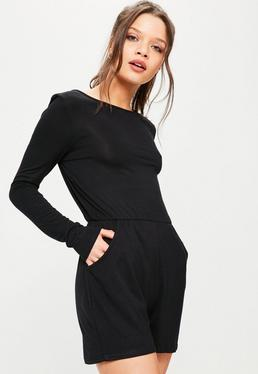 Black Long Sleeve Jersey Playsuit