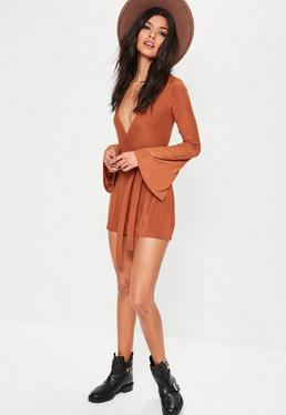 Orange Slinky Wrap Belted Playsuit