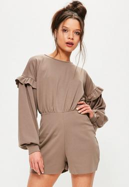 Tan Balloon Frill Sleeve Playsuit
