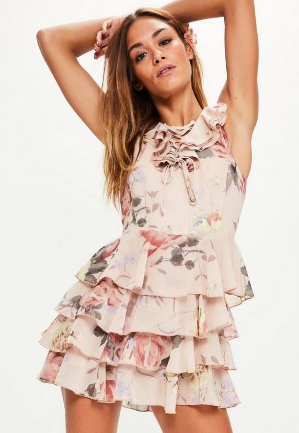 Pink Floral Print Lace Up Ruffle Playsuit