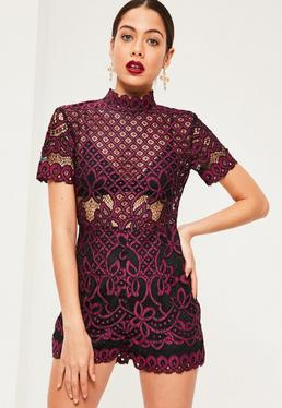 Purple Lace Short Sleeve Playsuit