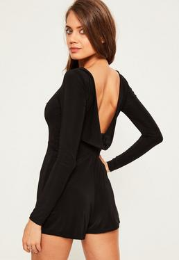 Black Slinky Cowl Back Playsuit