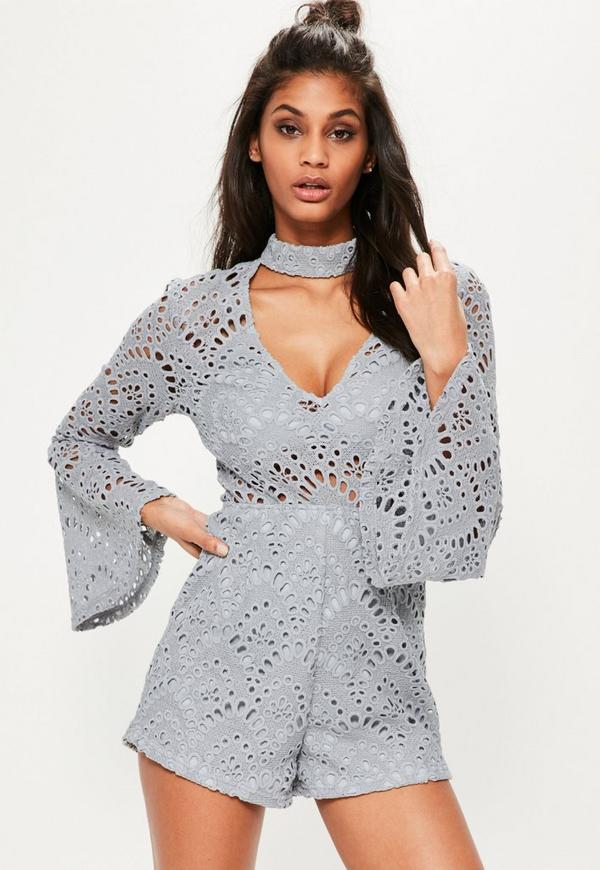 Grey Choker Neck Lace Flare Sleeve Lace Playsuit