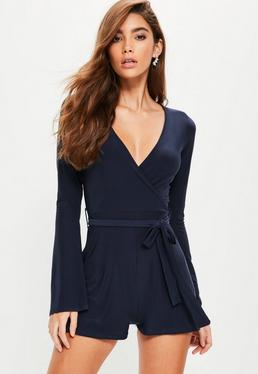Navy Slinky Wrap Belted Playsuit
