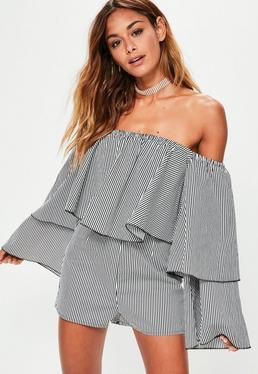 Black Striped Long Sleeve Bardot Romper
