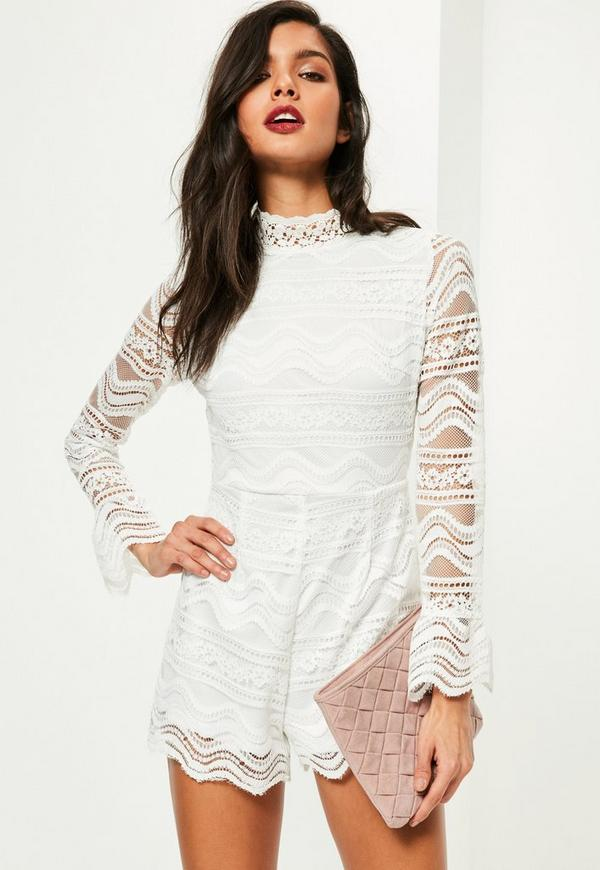 White Zip Back Full Lace Playsuit