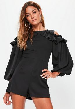 Black Cold Shoulder Balloon Sleeve Playsuit