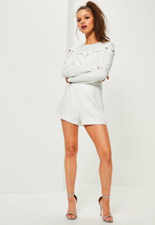 White Button Detail Long Sleeve Playsuit