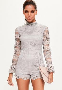 Grey Zip Back Full Lace Playsuit