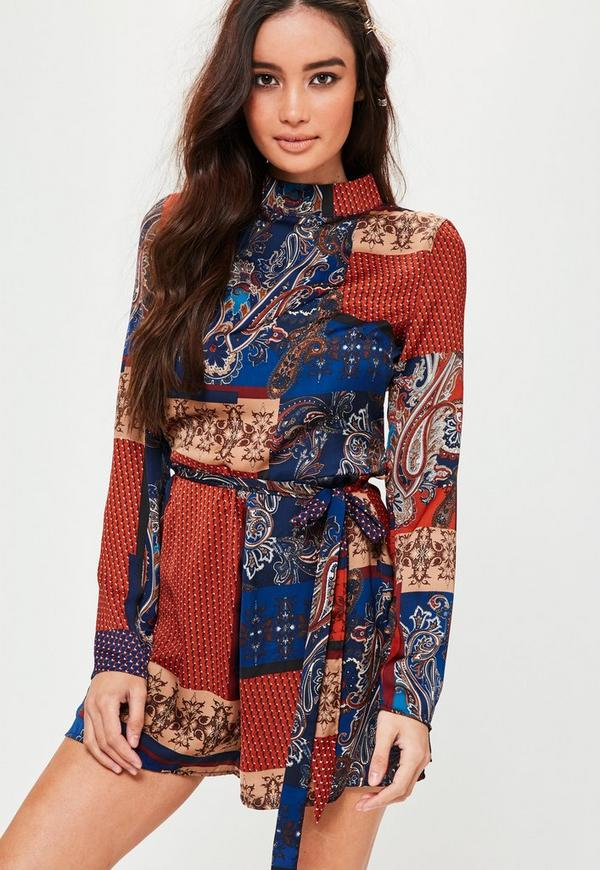 Blue Printed Long Sleeve Tie Waist Playsuit