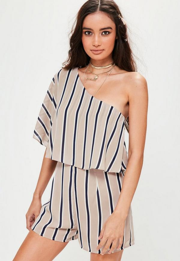 Nude Stripe One Shoulder Double Layer Playsuit