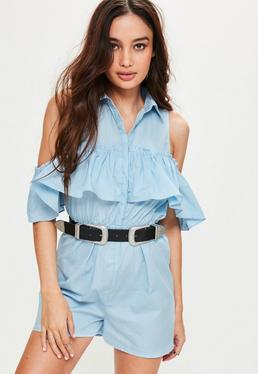 Blue Poplin Cold Shoulder Frill Playsuit