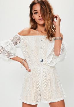 White Lace Bardot Frill Sleeve Playsuit