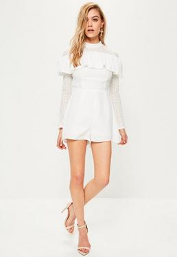 White Lace Trim Frill Front Romper