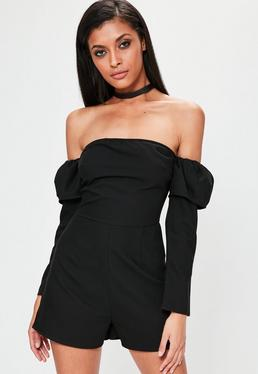 Black Bardot Balloon Sleeve Tuxedo Playsuit