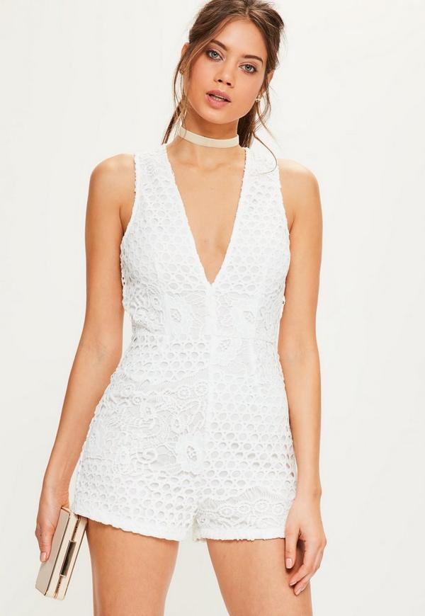 White Circle Crochet Lace Sleeveless Playsuit