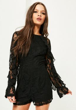 Black Lace Frill Sleeve Playsuit