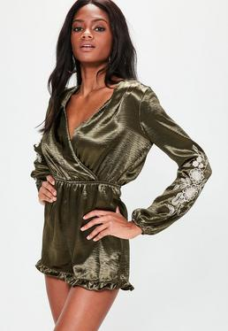 Khaki Satin Embroidered Wrap Playsuit