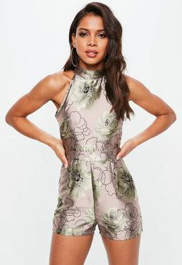 Silver Jacquard Floral Print High Neck Playsuit