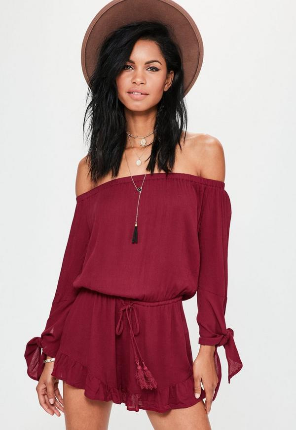Red Cheesecloth Tie Sleeve Bardot Playsuit