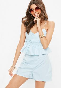 Blue Strappy Poplin Ruffle Front Playsuit