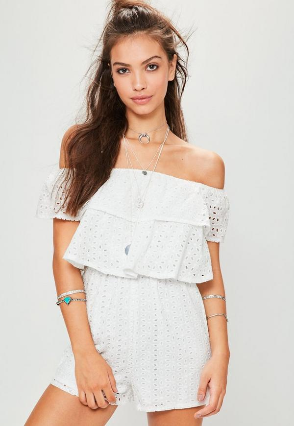 White Broderie Layered Bardot Playsuit