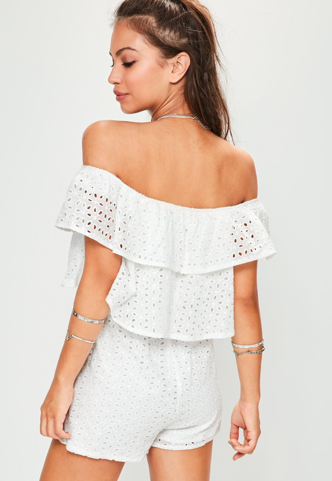 48ad2aa54 Missguided White Broderie Layered Bardot Playsuit, White at £15 ...