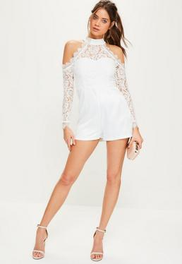 White Lace Top Cold Shoulder Playsuit