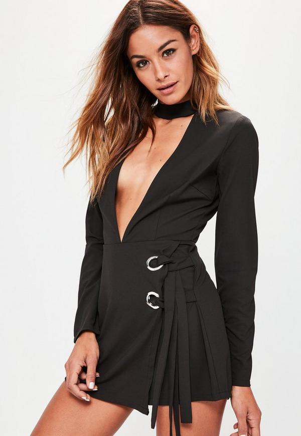 Black Eyelet Wrap Skort Choker Playsuit