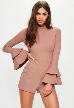 Pink High Neck Double Frill Sleeve Playsuit