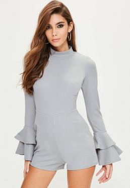 Grey High Neck Double Frill Sleeve Playsuit