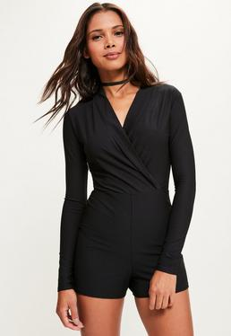 Black Long Sleeve Wrap Front Tuxedo Playsuit