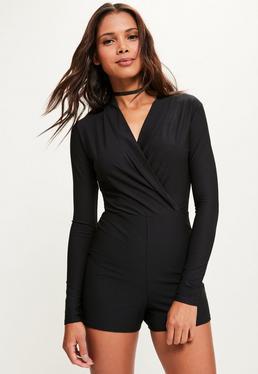 Black Long Sleeve Wrap Front Tuxedo Romper
