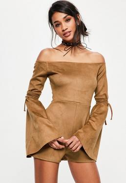 Brown Faux Suede Bardot Flare Tie Sleeve Romper