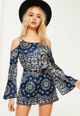 Blue Paisley Print Cold Shoulder Playsuit
