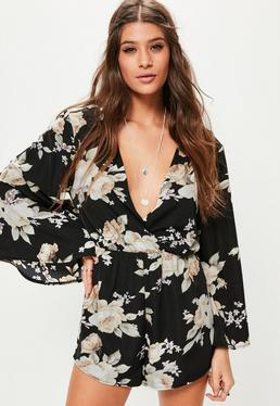 Black Floral Flare Sleeve Wrap Playsuit