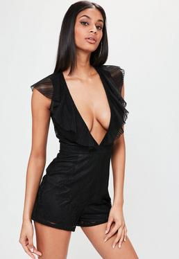 Black Lace Ruffle Front Sleeveless Romper