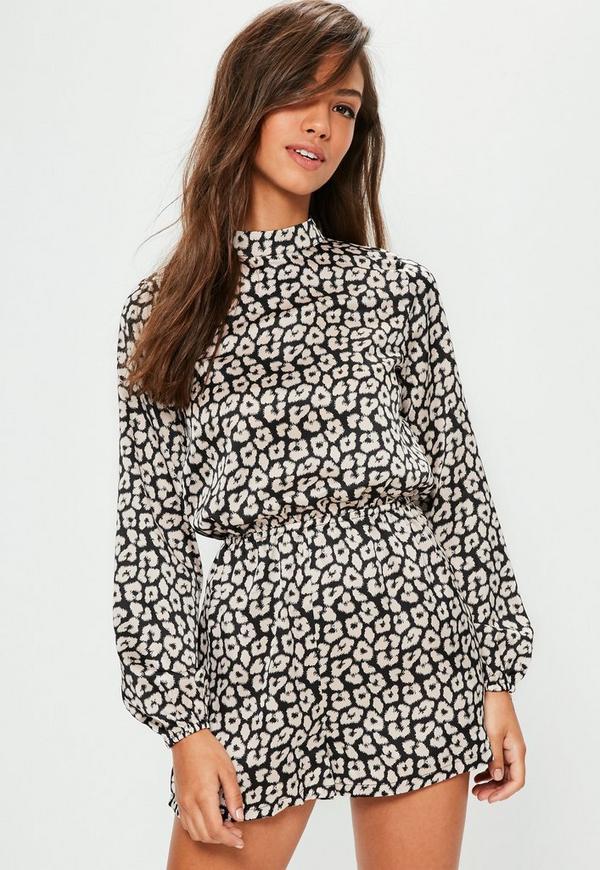 Black Silky Leopard Print Long Sleeve Playsuit