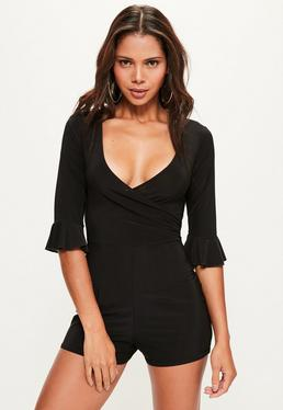 Black Slinky Frill Sleeve Wrap Playsuit