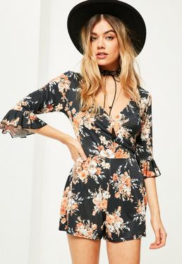 Black Floral Print Slinky Frill Sleeve Wrap Romper
